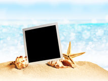 Seashells and old photo frame on sand Royalty Free Stock Photo