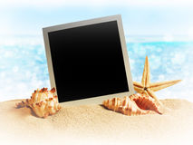 Seashells and old photo frame on sand Stock Photography