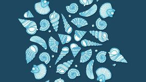 Seashells, pearls and starfishes as background. A collection of seashells for backgrounds. Seashell background.  stock footage