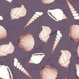 seashells Priorità bassa decorativa senza giunte di vettore illustrazione vettoriale