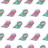 seashells Reticolo senza giunte Isolato su priorità bassa bianca Disegnato a mano illustrazione vettoriale
