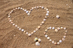 Seashells on the sand. In the form of heart Stock Images