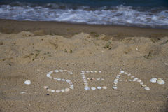 Seashells on the sand. Letters made ​​of shells on the sand royalty free stock photos