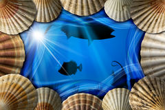 Seashells on Sea Abyss Background. Frame of sea shells on blue abstract background with stylized waves and sea abyss landscape with fishes Stock Images