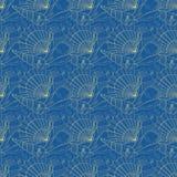 Seashells seamless pattern. Blue Stock Images