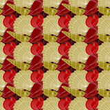 Seashells seamless pattern. Red, gold, white Royalty Free Stock Image