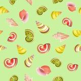 Seashells seamless vector pattern. Royalty Free Stock Image