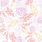 Seashells and seaweed seamless pattern background Royalty Free Stock Image