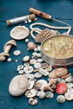 Seashells and sewing accessories Stock Photography