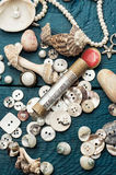 Seashells and sewing accessories Royalty Free Stock Photo
