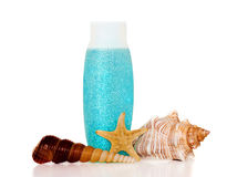 Seashells, shampoo. Still life with starfish and seashells royalty free stock photos