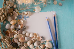 Seashells with sheets of paper  and pen on a blue background. Stock Photo