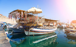 Seashells shop boat in harbour of Rhodes, Dodecanese, Greece stock photo