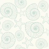 Seashells and star fish pattern Royalty Free Stock Image
