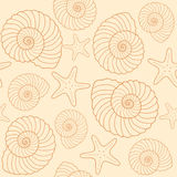Seashells and star fish pattern Royalty Free Stock Images