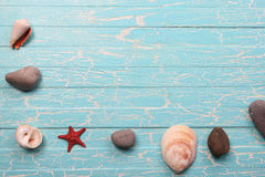 Seashells and starfish on a background of painted boards Stock Photography