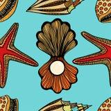 Seashells and starfish seamless pattern Stock Photography