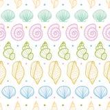 Seashells stripes line art seamless pattern background Stock Photo