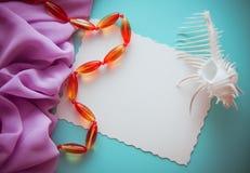 Seashells Turquoise Background Stock Image