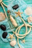Seashells on turquoise background Stock Photos