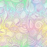 Seashells vector безшовная картина на предпосылке holograram Стоковое Фото