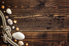Seashells on wood Royalty Free Stock Photography