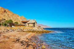 Seashoe in Dahab, Sinai, Egypt. The seashore of Aqaba gulf in Egyptian resort of Dahab - small town located in Sinai peninsula and facing Saudi Arabia, located royalty free stock photos