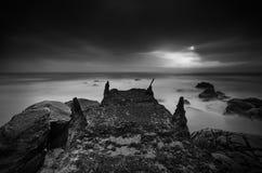 Seashore в черной & белизне Стоковое Изображение RF