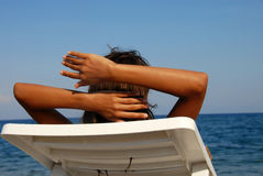 seashore девушки Стоковая Фотография RF