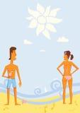 seashore людей стоя 2 детеныша Стоковые Фото