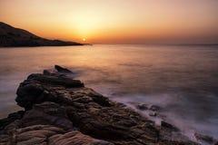 Seashore на nigt Море Крита Стоковое Изображение