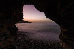 Seashore на nigt Море Крита стоковые изображения rf