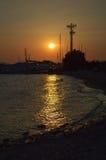 Seashore ночи Glyfada в Glyfada, Афинах, Греции 14-ого июня 2017 Стоковое фото RF