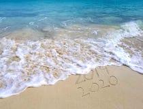 Seashore 2020 океана Нового Года стоковое изображение rf