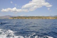 Seashore острова Thassos от круиза вокруг на Эгейском море в Греции Стоковые Изображения RF