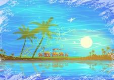 seashore пейзажа тропический иллюстрация вектора
