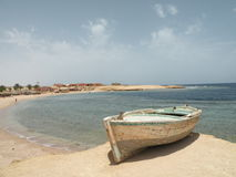 Seashore. Red sea, beautiful seashore boat Stock Images