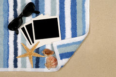 Polaroid photo frame beach background sand copy space Royalty Free Stock Photography