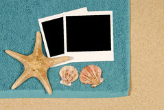 Polaroid photo frame beach background starfish Royalty Free Stock Images