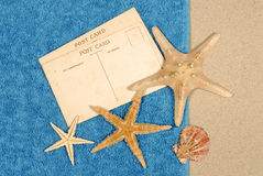 Post card beach background starfish towel copy space Royalty Free Stock Photo