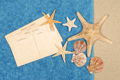 Post cards beach towel starfish copy space Stock Images