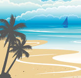 Seashore Background. Vector illustration of a seashore with a boat, coconut trees and clouds Royalty Free Stock Image