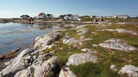 Seashore and bay in the norwegian fishing village stock footage