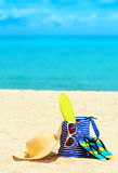 Beach accessories. Concept of summer vacations Stock Images
