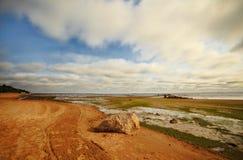 Seashore with big stone Royalty Free Stock Photography