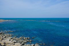 Seashore, blue water, Caspian sea Stock Image