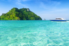 Clear water and blue sky. Beach in Krabi province, Royalty Free Stock Images