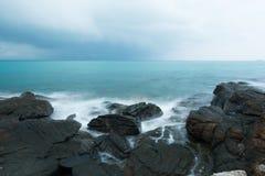 Seashore in cloudy morning Stock Photo