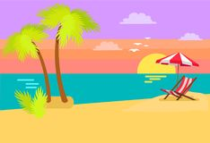 Seashore Coastal View Tropical Beach Sea Sand Palm. Seashore coastal view tropical beach, sea sand and palm trees, sunset or sunrise, umbrella and sunbed tropics stock illustration