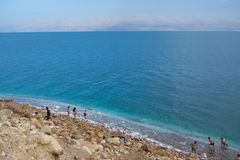 The seashore of the Dead Sea in Israel stock images